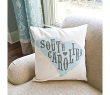 "ARW Custom Pillow Cover - State Shape Typography Canvas - 18""x18"" State Pillow"