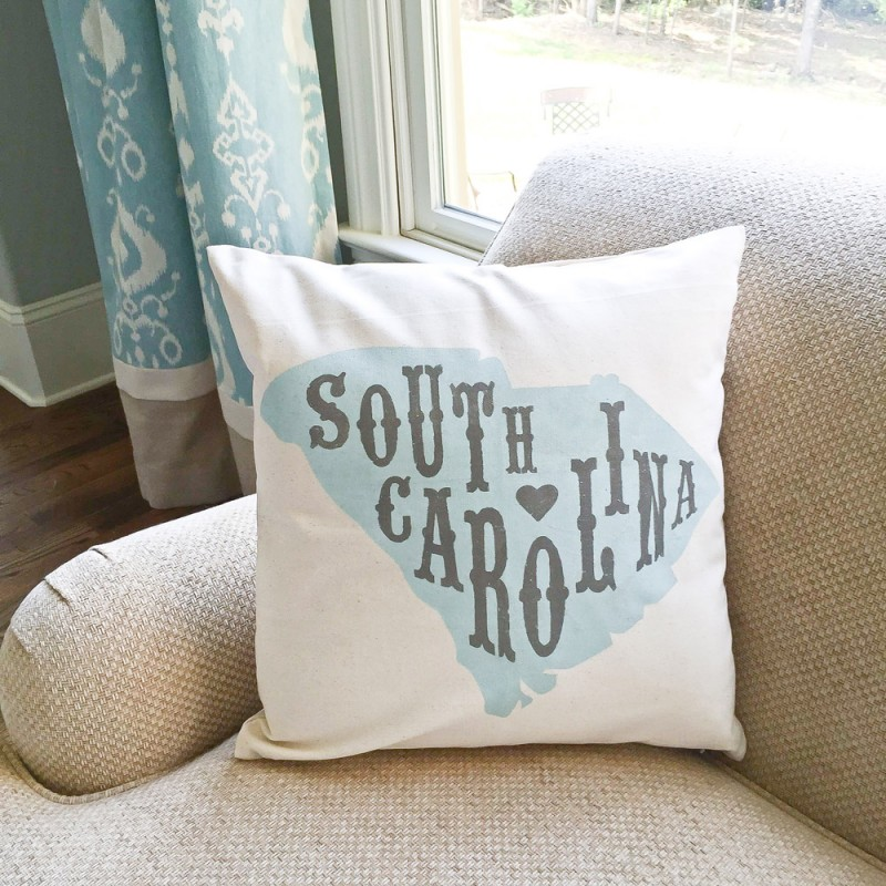 Custom Farmhouse Style State Pillow Cover