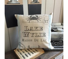 "ARW Custom Pillow Cover - French Postal Lake House - 18""x18"" Farmhouse Style Pillow"
