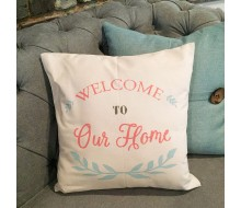 "ARW Custom Pillow Cover - Welcome To Our Home - 18""x18"" Farmhouse Style Pillow"