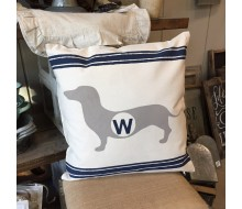 "ARW Custom Pillow Cover - Wiener Dog Initial - 18""x18"" Farmhouse Style Pillow"