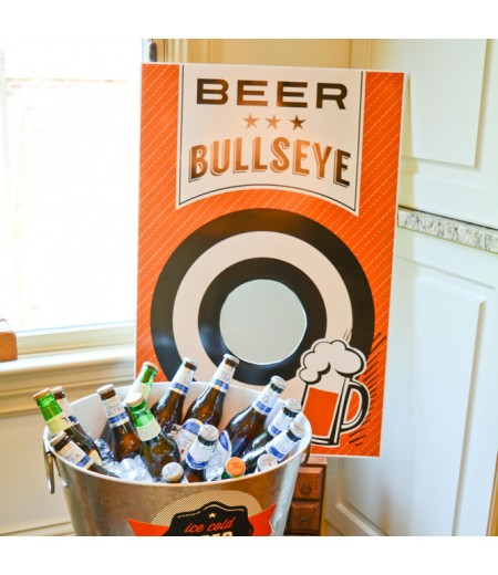 Beer B Que Man Birthday Party Beer Bullseye Poster 20x30 - Instant Download