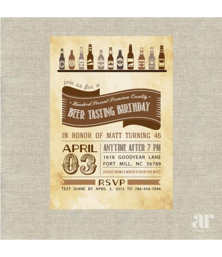 Beer Tasting Birthday Party Printable Invitation