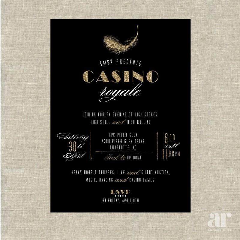 Casino Wedding Invitations: Casino Royale Black Poker Vegas Birthday Party Printable
