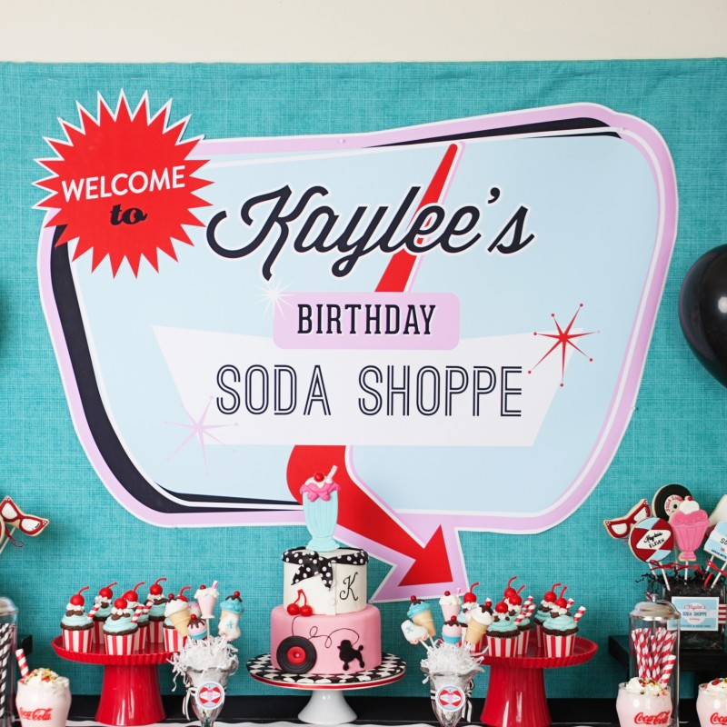diner soda shoppe 50s retro birthday party printable sign