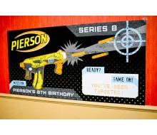 "Nerf Gun Black Neon Printable Backdrop Poster - 36"" x 72"""