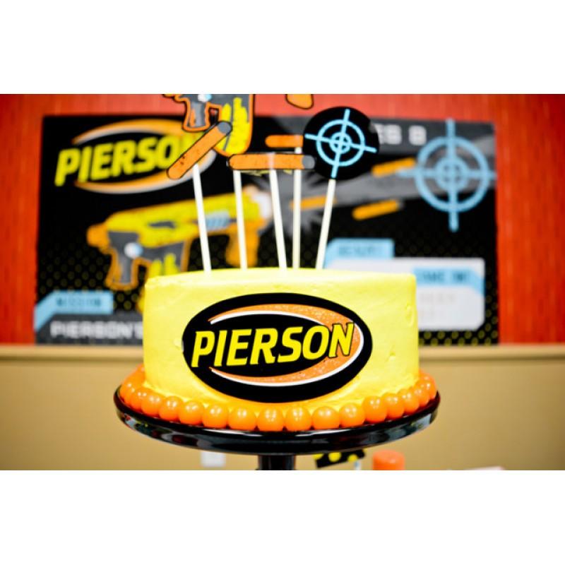 Nerf Gun Black Neon Birthday Party Printable Cake Toppers Set