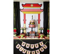 Ninja Birthday Party Printable Pagoda Poster - Instant Download