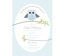 Owl Blue Baby Shower Printable Invitation