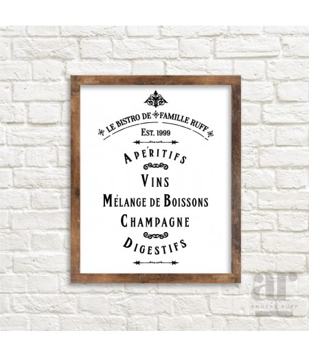Personalized Vintage French Bistro Poster - Printable 20x30 Poster