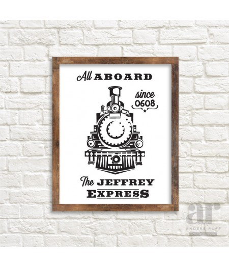 Personalized Vintage Train Poster - Printable 20x30 Poster