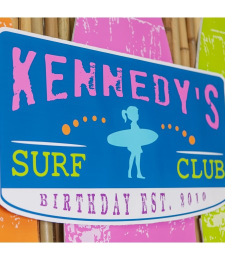 Surfer Girl Surfs Up Sharks Birthday Party Poster 16x30