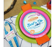 Surfer Girl Surfs Up Sharks Birthday Party Customized Plate and Fork Labels
