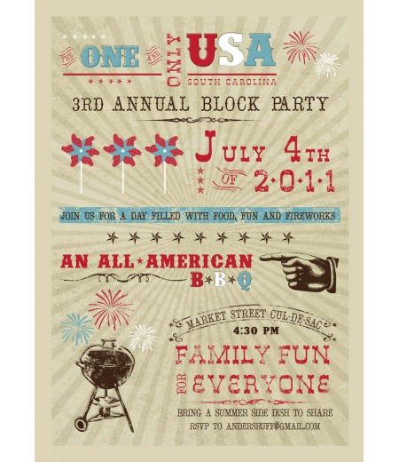 All American 4th of July BBQ Party Printable Invitation