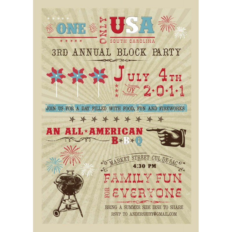 Printable Memorial Day Party Invitations - Custom Invitations