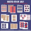 Rustic 4th of July Patriotic American Celebration BBQ Party Printable Collection - Instant Download