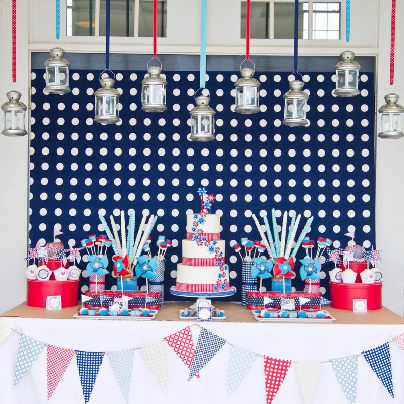 4th Of July Pinwheels Printable Party Collection