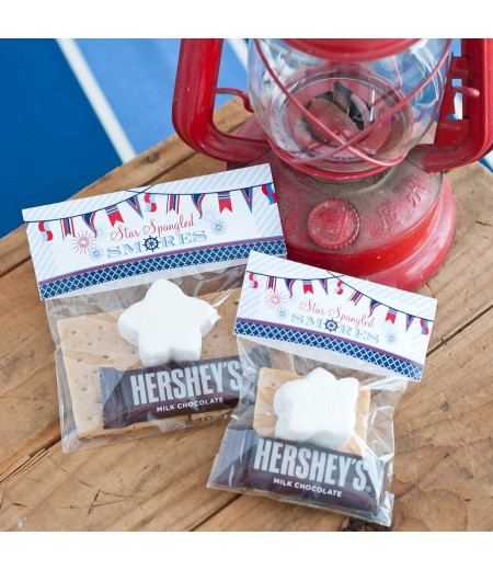 Nautical 4th of July Printable Folding S'mores Bag Topper - Instant Download
