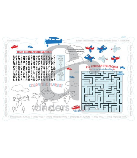 Airplane Birthday Party Customized Activity Coloring Placemat
