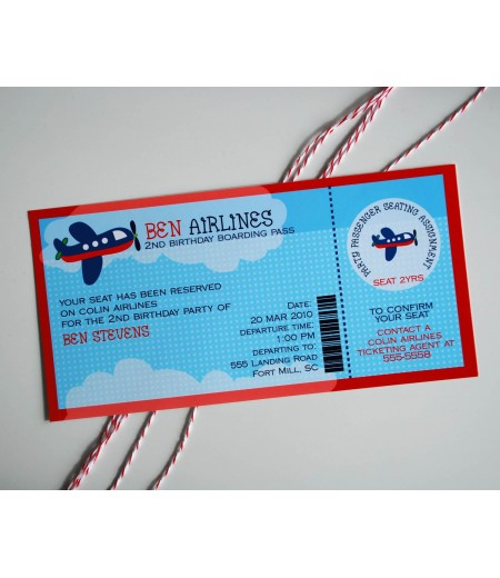 Airplane Birthday Party Printable Invitation