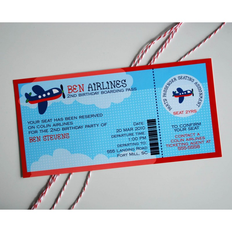 Airplane Ticket Boarding Pass Birthday Invitation: Airplane Birthday Party Printable Invitation