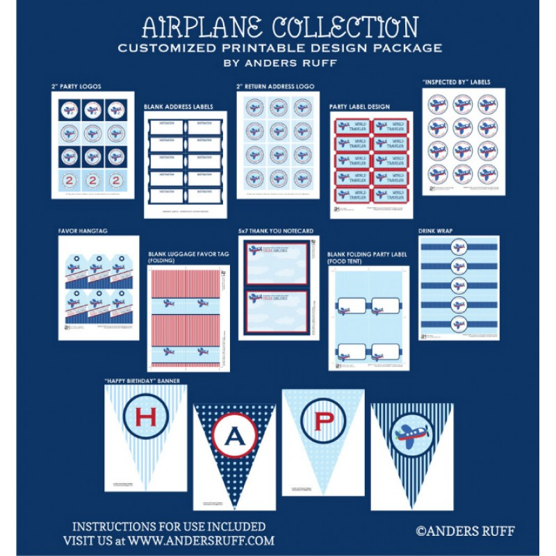 Printable Vintage Airplane Party Collection Diy By: Airplane Birthday Party Printable Collection