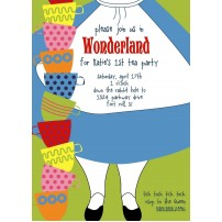 Alice in Wonderland Dress Printable Birthday Party Invitation