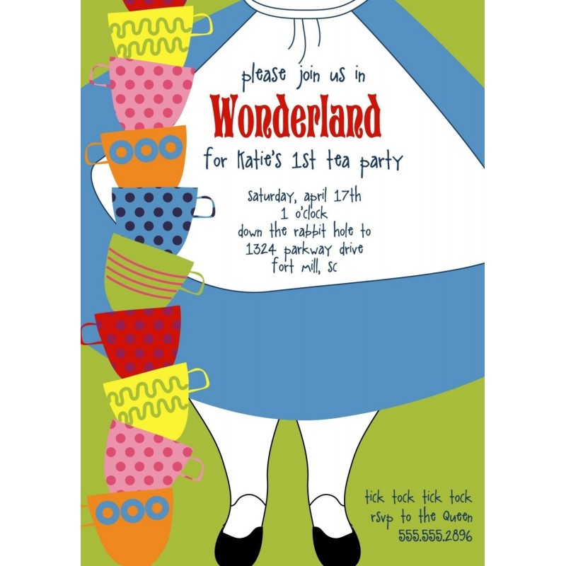 in wonderland dress printable birthday party invitation, Invitation templates