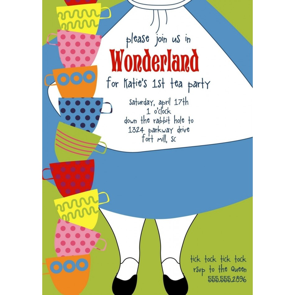 Alice in Wonderland Birthday Invitation Template 950 x 950 · 110 kB · jpeg