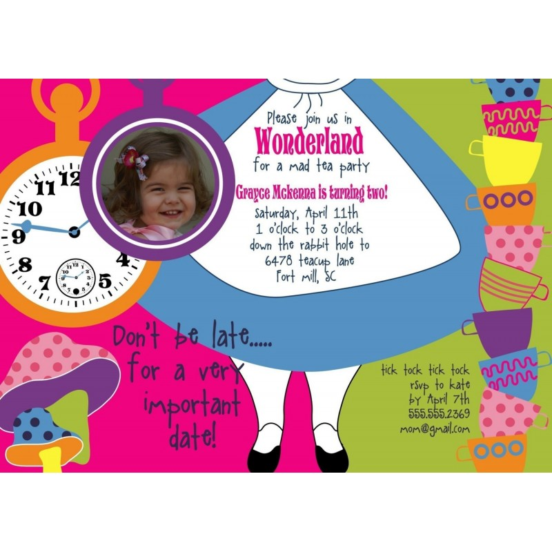 alice in wonderland dress printable birthday party invitation, Birthday invitations