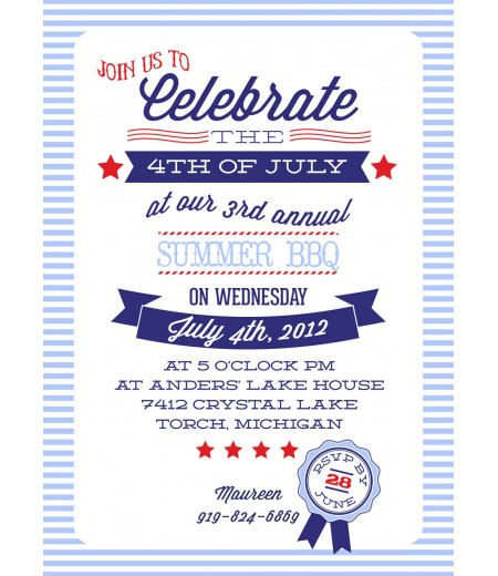All American or 4th of July Party Printable Invitation