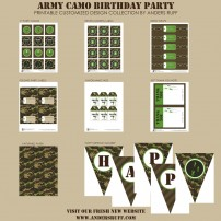 Army Camo Birthday Party Printable Collection