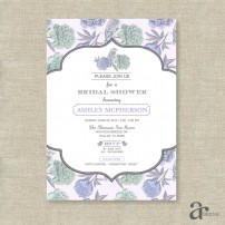 Vintage Shabby Chic Floral Bird Bridal Shower Printable Invitation - Ashley Collection - Purple