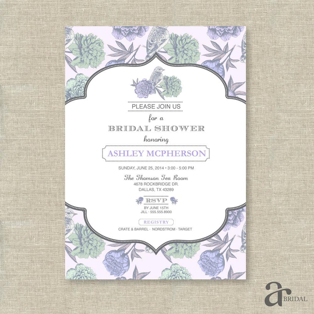 vintage shabby chic floral bird bridal shower printable invitation ashley collection purple