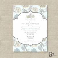 Vintage Shabby Chic Floral Bird Bridal Shower Printable Invitation - Ashley Collection - Pale Blue