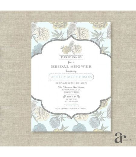 vintage shabby chic floral bird bridal shower printable invitation ashley collection pale blue