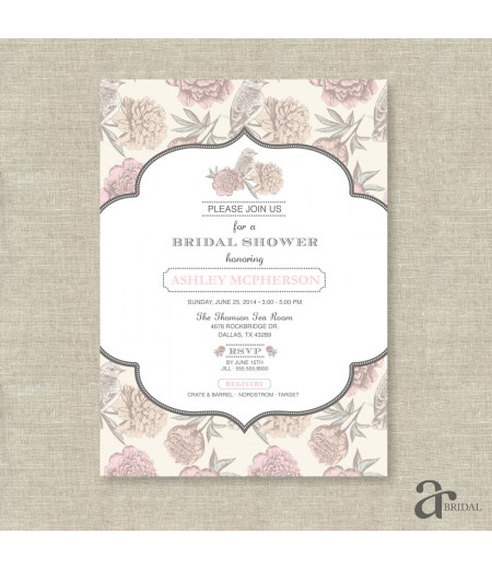 Vintage Shabby Chic Floral Bird Bridal Shower Printable Invitation - Ashley Collection - Blush Pink