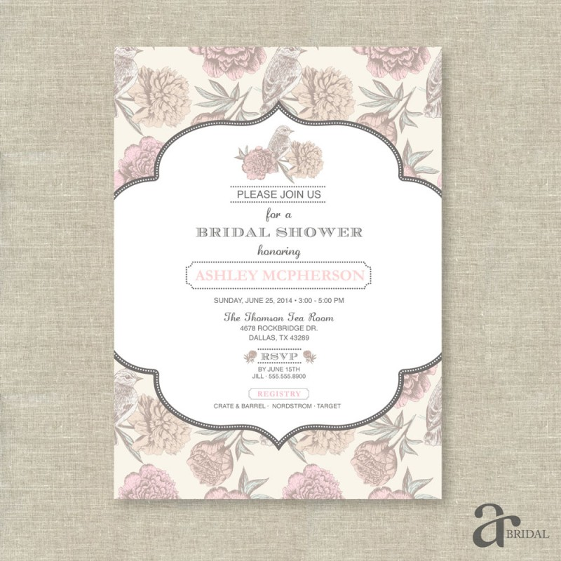 vintage shabby chic floral bird bridal shower printable invitation