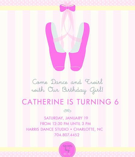 Ballet Dance Ballet Shoes Twirl Birthday Party Printable Invitation