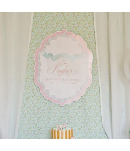 "Elegant Shabby Chic Baptism Printable Welcome Sign - 20"" x 30"""