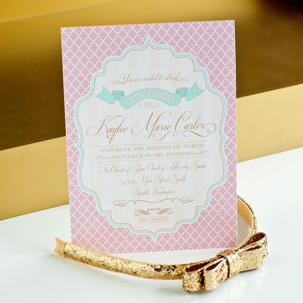Shabby Chic Baptism Printable Invitation - Gold, Blush and Mint