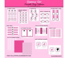 Glamour Girl Doll Inspired Birthday Party Printables Collection