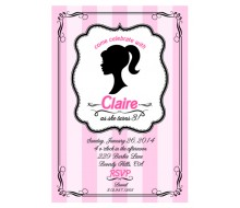 Glamour Girl Doll Birthday Party Printable Invitation