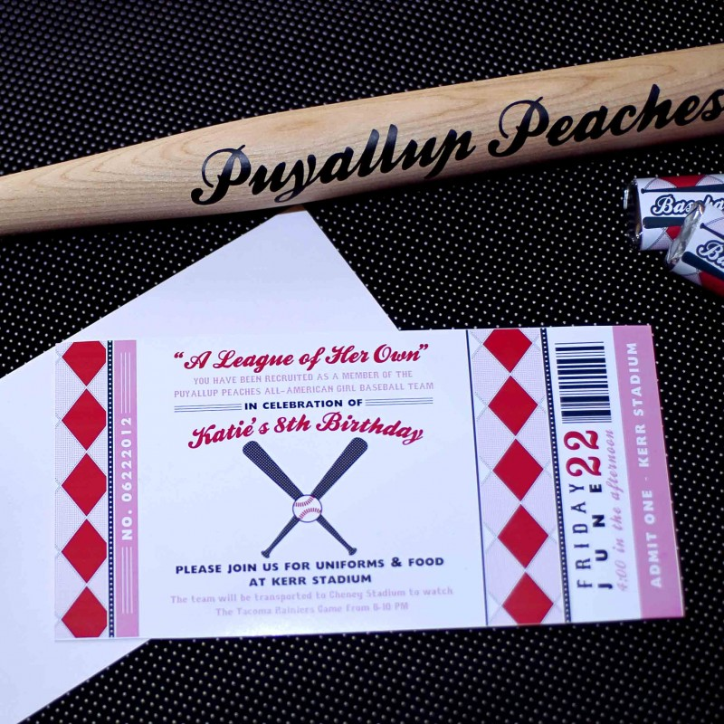 League Of Her Own Vintage Girls Baseball Birthday Party Printable Invitation