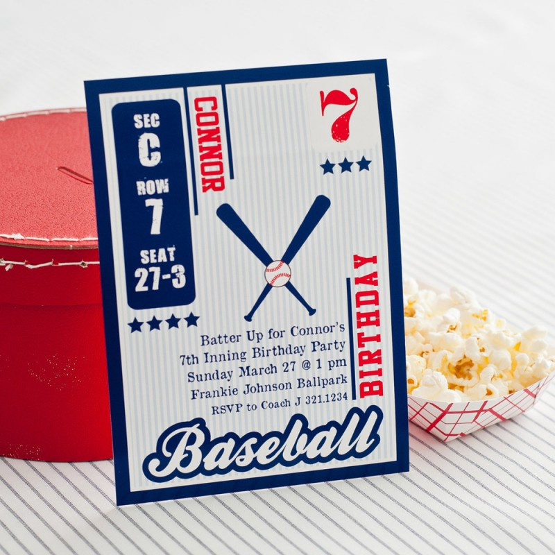 Vintage Baseball Card Birthday Party Printable Invitation