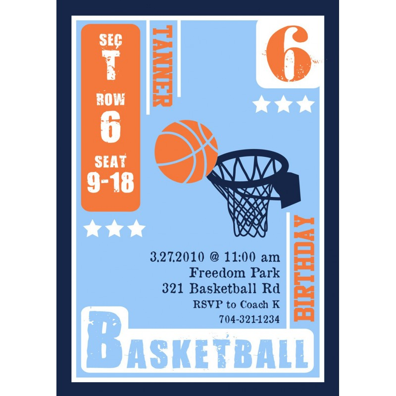 Birthday Party Printable Invitation – Basketball Birthday Invitations