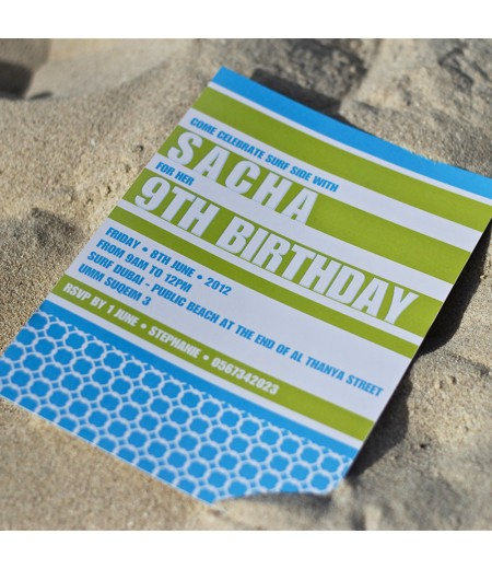 Beach Surfing or Pool Party Birthday Printable Invitation