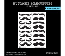 Mustache Silhouettes Printables - Photo Booth Prop - Instant Download