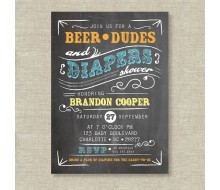 Beer Dudes and Diapers Man Shower Baby Shower Printable Invitation