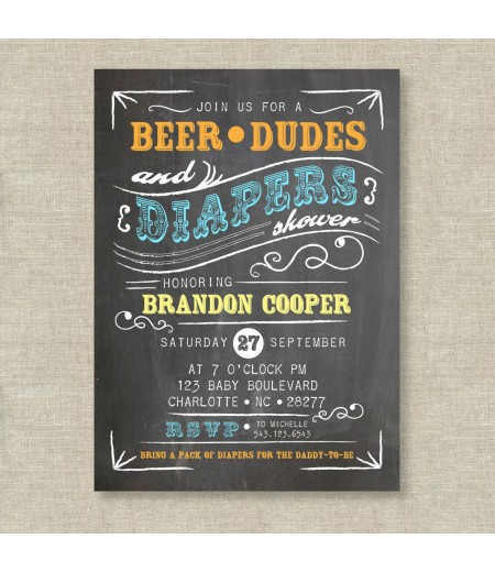 Beer dudes and diapers man shower baby shower printable invitation filmwisefo
